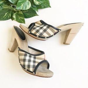 Burberry • Wooden Heels, Plaid Fabric, Size 38